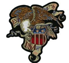 Vintage Eagle US Flag Shield Military Large Iron On Embroidered Patch Flag Patches, Sew On Patches, Iron On Patches, Leather Jacket Patches, Biker Patches, American Flag Eagle, Iron On Embroidered Patches, Tactical Patches, Patch Design