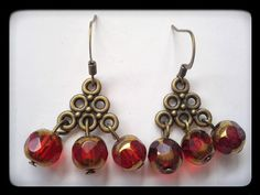Red and Gold Beaded Chandelier Earrings by ValiantEfforts on Etsy $9.99