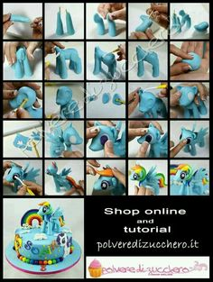 fondant rainbow dash My little pony tutorial. fondant rainbow dash My little pony tutorial. My Little Pony Party, Fondant Figures, Fondant Toppers, Fondant Cakes, Anniversaire My Little Pony, Fondant Rainbow, Rainbow Dash Cake, Decors Pate A Sucre, Cake Topper Tutorial