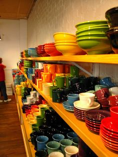 I LOVE Fiestaware and use it exclusively at home.  My family can sometimes tell if I am in a good or bad mood depending on the colors I put together.  I also love vintage color, hunting for them one plate, bowl or pitcher at a time.