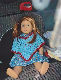 Crochet poncho for American Girl doll, Emily.