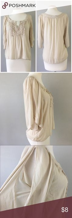 Maurice's Oatmeal Boho Flowy Open Sleeve Blouse Maurice's Oatmeal Boho Flowy Open Sleeve Blouse. Size medium. Thank you for looking at my listing. Please feel free to comment with any questions (no trades/modeling).  •Condition: GUC, no holes or stains.   ✨Bundle and save!✨10% off 2 items, 20% off 3 items & 30% off 5+ items! JB Maurices Tops Blouses