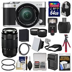 Introducing Fujifilm XA3 WiFi Digital Camera  1650mm II XC Lens Silver with 50230mm II Len  64GB Card  Backpack  Flash  Battery  Charger  2 Lens Kit. It is a great product and follow us for more updates!