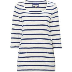 White Stuff Coast Line Jersey Tee ($49) ❤ liked on Polyvore featuring tops, t-shirts, light blue, women, 3/4 sleeve t shirts, cotton jersey, fitted tee, white stripes t shirt and stripe tee