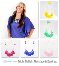 These triple delight statement necklaces come with matching earrings! Available in 7 splendid colors! $4.99