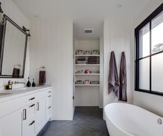 White Shiplap bathroom with Gray Slate Herringbone Floor Tiles Barn Bathroom, Shiplap Bathroom, Bathroom Red, Modern Farmhouse Bathroom, Bathroom Windows, Modern Bathrooms, Bathroom Ideas, White Shiplap, Slate Flooring