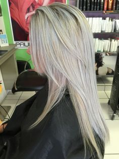Platinum Blonde touch of pink and blue
