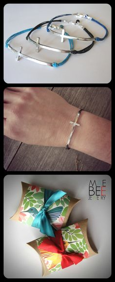 NEW Sideways Cross Bracelets on colored linen...for Easter! www.jewelrybymaebee.etsy.com