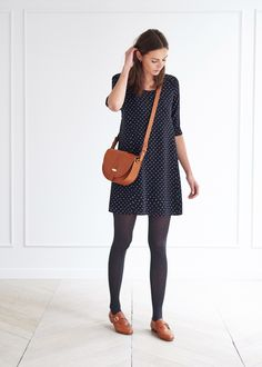 What to grab when I'm feeling somewhat girly : a minidress + dark-colored leggings + flats + satchel