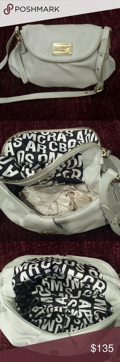 """Marc Jacobs Mini Natasha Adjustable top strap, foldover flap with magnetic closure, zip-around compartment in flap, dust bag included. 7"""" H x 10"""" W x 3"""" D with a 20-25"""" strap drop. I THINK the color is Cement but not positive.  Minor flaw as shown in pic 6 but barely noticeable. Very clean inside. Rarely used. Marc Jacobs Bags"""