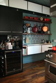 tiles + display of pots and pans