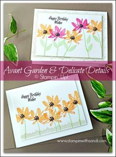 Avant Garden and Delicate Details cards by Sandi at stampinwithsandi.com