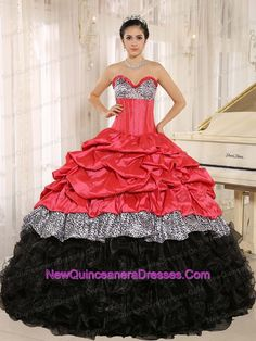 Watermelon and sweethart quincenera dress cute