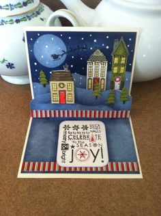 Fun pop-up made with Stampin'Up Holiday Home set.