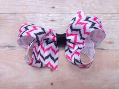25% off SALE Pink & black chevron hair bow - chevron bow, 3 inch bow, boutique bow by BrownEyedBowtique on Etsy https://www.etsy.com/listing/198612426/25-off-sale-pink-black-chevron-hair-bow