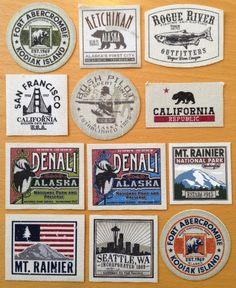 Patches Labels by Matthew Thomas, via Behance Badge Design, Label Design, Logo Design, Graphic Design, Vintage Tags, Vintage Labels, Shirt Label, Automotive Logo, Outdoor Clothing Brands