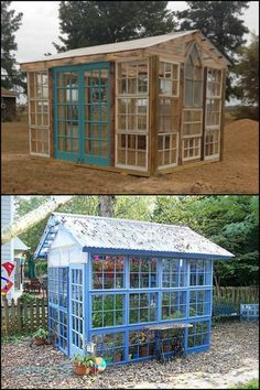 Grow produce all rear round in your own backyard by building a greenhouse from old windows!