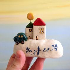Miniature ceramic houses , white houses made of clay , little houses collectible item , Christmas gift , Passover gift , romantic gift
