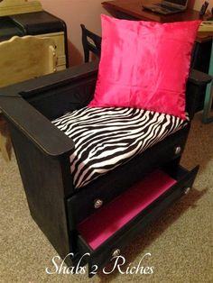 Hot Pink, Black and Zebra Print - Making A Bench From A Dresser By Shabs 2 Riches - Featured On Furniture Flippin'