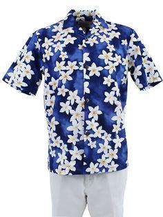 e2c6bd66ff5e Plumeria Blue Cotton Men s Hawaiian Shirt
