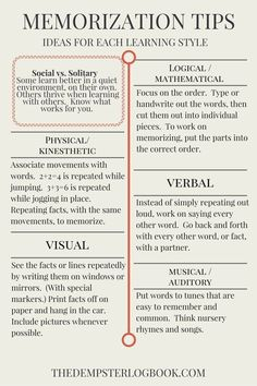 Memorization tips based on your learning style! Memorization tips based on your learning style! Life Hacks For School, School Study Tips, Study Tips For Exams, College Study Tips, Study Tips For Students, College Essay, School Ideas, Study Techniques, Study Methods