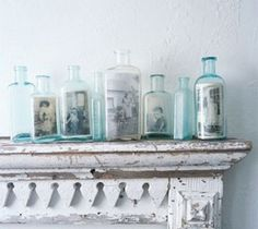 Copies of old photos on vintage bottles - add to frames with small flowers