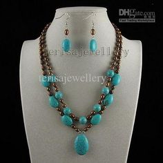 Wholesale turquoise amp; brown pearl pendant necklace earring fashion woman's jewelry set A2516, Free shipping, $17.99-20.65/Set | DHgate
