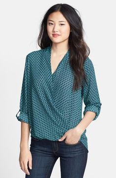 Pleione Faux Wrap Blouse (Regular & Petite) available at Wrap Shirt, Wrap Blouse, T Shirt Diy, Designer Plus Size Clothing, Gamine Style, Casual Outfits, Fashion Outfits, Women's Fashion, Stitch Fit