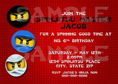 DIY Printable Lego Ninjago Birthday Invitation. $14.00, via Etsy.