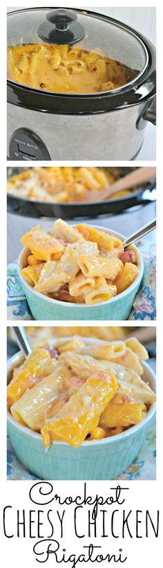 This slow cooker dinner will have your whole family asking for seconds! Crockpot Cheesy Chicken Rigatoni is a knock off of Chicken Spaghetti, but with the ease of a slow cooker! Crock Pot Food, Crockpot Dishes, Crock Pot Slow Cooker, Slow Cooker Recipes, Crockpot Recipes, Cooking Recipes, Chicken Recipes, Crockpot Meals Easy, Velveeta Recipes