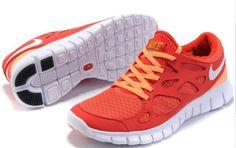 Damen Nike Free Run 2 Schuhe - rot, orange, weiB