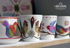 Hand painted porcelain, birds