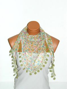 Green colorful floral multi purpose scarf by specialhandmades4you, $14.00