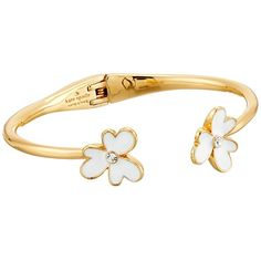 Kate Spade New York Pansy Blossoms Thin Cuff Bracelet ($78) ❤ liked on Polyvore featuring jewelry, bracelets, white, thin bangles, blossom jewelry, hinged cuff bracelet, white cuff bracelet and white jewelry