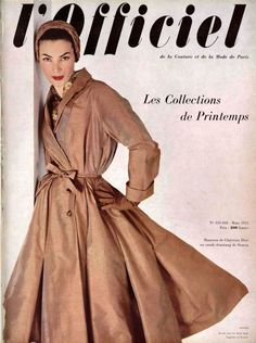 L'Officiel n°359-360 de mars 1952, manteau en shantung de Christian Dior, photo Pottier