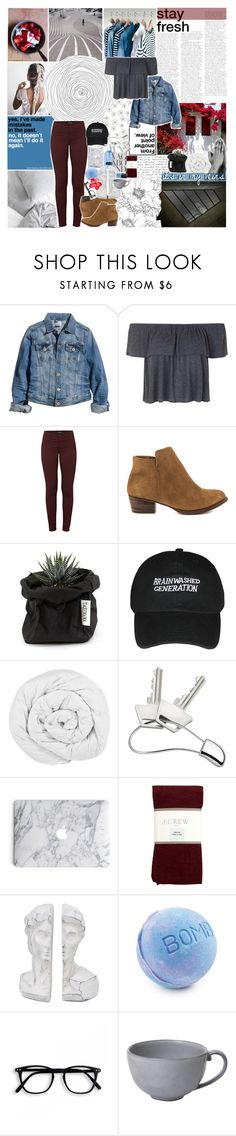 """""""I'LL STAIN EVERY HEART -- going on a break"""" by vanilla-chai-tea ❤ liked on Polyvore featuring WALL, H&M, Topshop, J Brand, Jessica Simpson, The Fine Bedding Company, Georg Jensen, J.Crew, Vagabond and Juliska"""