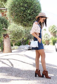 40 Killer Summer Concert Outfit Ideas | off-the-shoulder crop top + denim overall dress