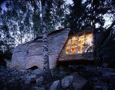 Dragspelhuset - on the shores of the lake amidst Övre Gla Gla Forest Nature Reserve, Sweden.