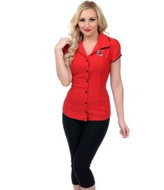 A fabulous #retro button up top complete with an embroidered sparrow…