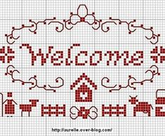 grille par semaine (grille Welcome de Aurelle - Récup, chiffons et bouts de ficelle Cuadrito en punto de cruz, sencillo! Cross Stitch Samplers, Cross Stitch Charts, Cross Stitching, Cross Stitch Embroidery, Embroidery Patterns, Hand Embroidery, Cross Stitch Patterns, Art Du Fil, Filet Crochet