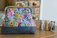Frame purse made with Liberty Japan Hello by CrimsonRabbitBurrow