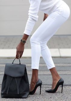 How to wear white pants work outfits casual chic 28 Ideas Style Désinvolte Chic, Style Casual, Mode Style, Casual Chic, White Fashion, Look Fashion, Womens Fashion, Fashion Trends, Fashion Styles