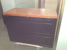 """2 Drawer Lateral Size File Cabinet by HON Office Furniture w Lock Key 42""""W   eBay $139. (clevland , ohio)  my thoughts was you could probably sand and restain the top to a walnut)  (just reread, its a laminate, so...)"""