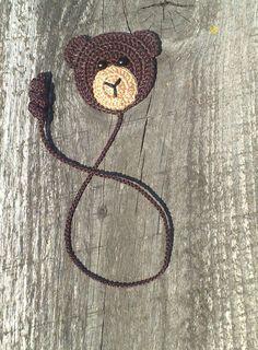Segnalibro uncinetto uncinetto segnalibro orso bruno di ElenaGift