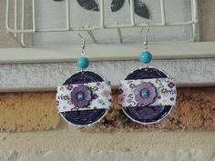 Boucles d'oreilles capsules de café nespresso violet