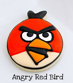 red angry bird cookie made from balloon cookie cutter