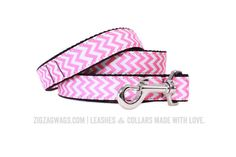 "The Perfectly Pink Signature Leash is available in two widths – 1"" for larger dogs, and 3/8"" for small and toy breeds. Both versions are 6' long, and feature a looped handle and a heavy-duty nickel-plated swivel clip for secure leash attachment."