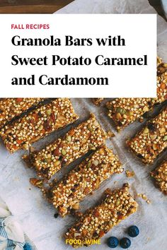 This granola bar recipe incorporates sweet potatoes, caramel and cardamom to create the ultimate fall recipe meets snack recipe. Whether you're eating this sweet potato recipe as a quick grab-and-go snack or as a make-ahead breakfast, it's a great choice for a fall recipe.#fallrecipes #sweetpotatoes #sweetpotatorecipes #granolabars #granolabarrecipes Best Brunch Recipes, Fall Recipes, Wine Recipes, Snack Recipes, Snacks, Sweet Potato Skins, Mashed Sweet Potatoes, Healthy Granola Bars, Fat Foods