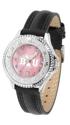 BYU Brigham Young Women's Leather Watch Mother Of Pearl by SunTime. $89.95. Poly/Leather Band. Officially Licensed Brigham Young Cougars Ladies Leather Sports Watch. Mother of Pearl Face. Adjustable Band. Women. BYU Brigham Young Women's leather wristwatch. This Cougars wrist watch features functional rotating bezel color-coordinated to compliment team logo. A durable, long-lasting combination nylon/leather strap, together with a date calendar, round out this best-selling timepi...