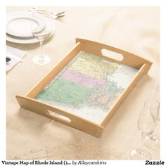 Vintage Map of Rhode Island (1827) Serving Tray